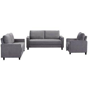 Jahasia 3 Piece Velvet Living Room Set by Latitude Run