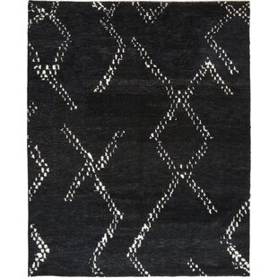 Low priced One-of-a-Kind Detweiler Hand-Knotted Wool Black Indoor Area Rug By Isabelline