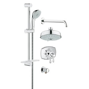 Bargain GrohFlex Thermostatic Faucet with Valve Trim, Shower Head, Hand Shower, Shower Arm, Slide Bar, Hose and Wall Supply ByGrohe