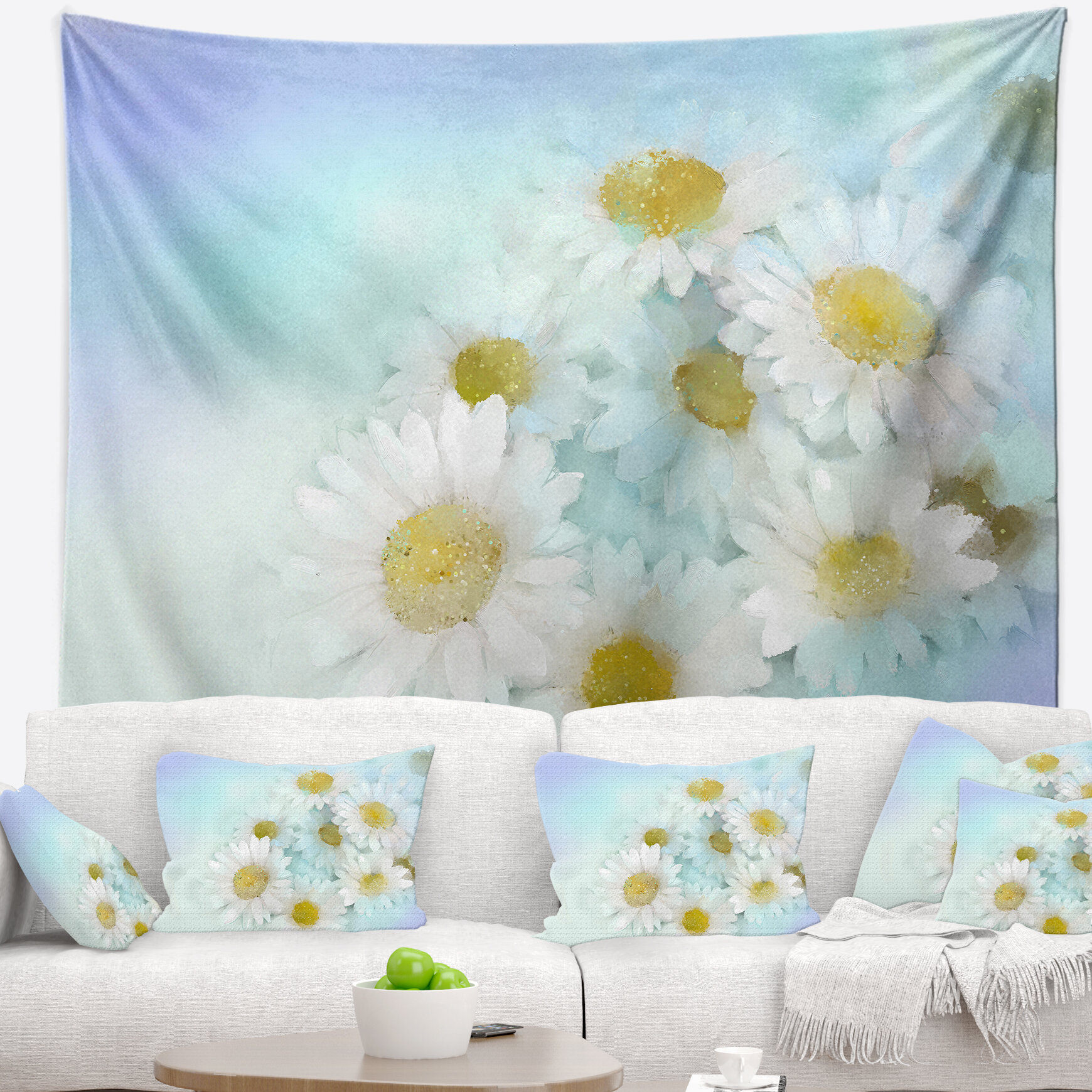East urban home white gerbera flowers on light blue tapestry and east urban home white gerbera flowers on light blue tapestry and wall hanging wayfair mightylinksfo