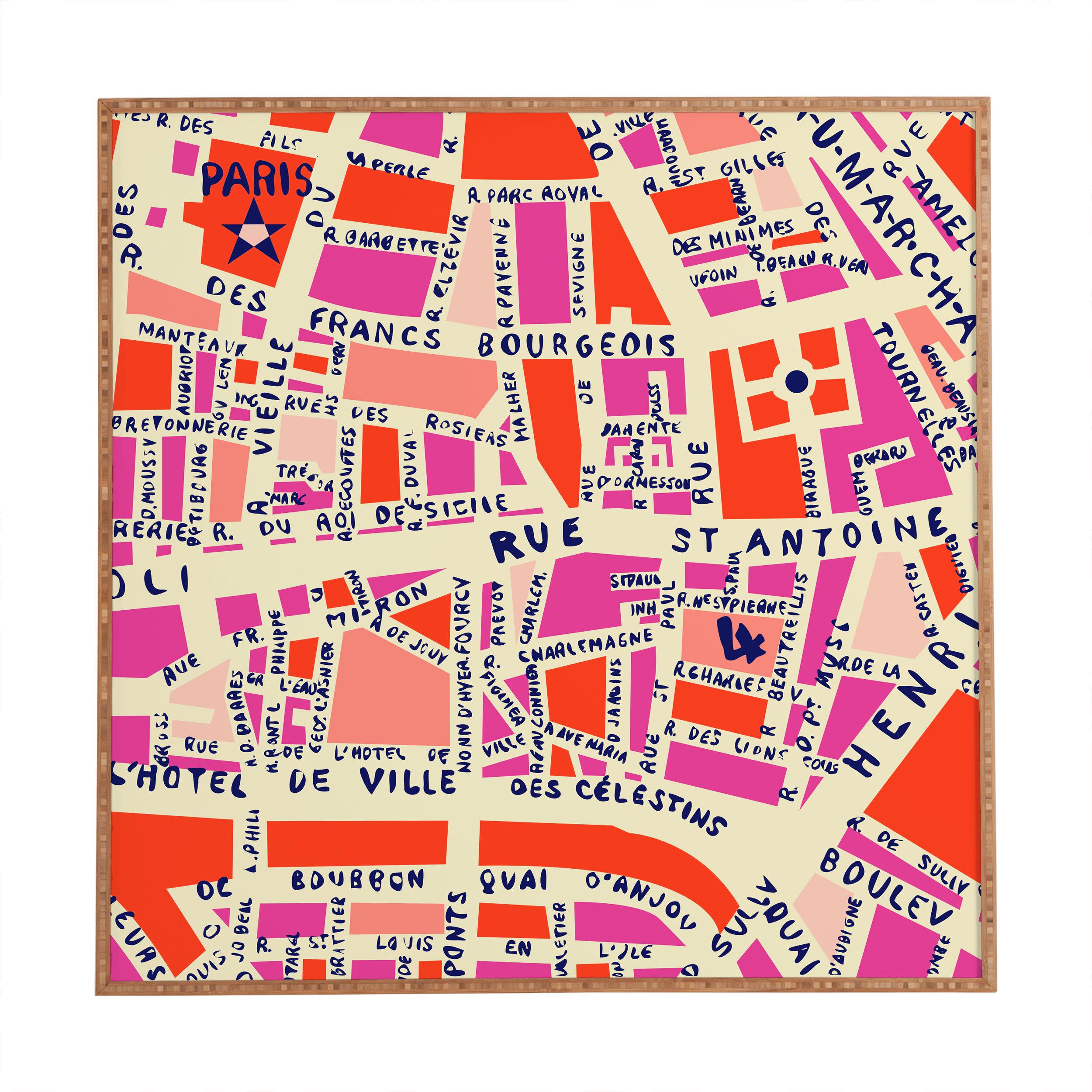 Paris Map Framed Graphic Art Reviews Allmodern