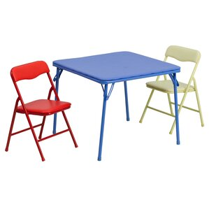 Folding Kids 3 Piece Square Table And Chair Set