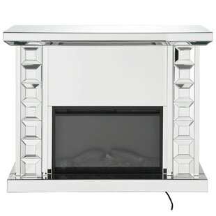 Norval Wood and Glass Electric Fireplace by Everly Quinn