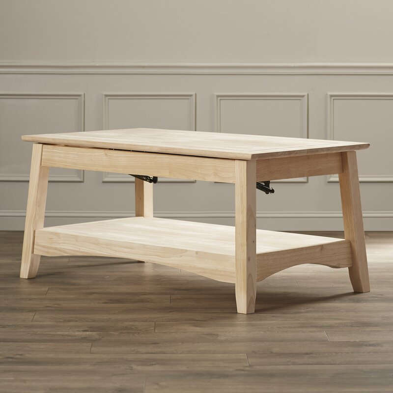 Genial Unfinished Wood Bombay Coffee Table With Lift Top