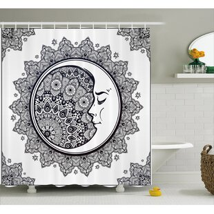 Zodiac Boho Star Moon Mandala Single Shower Curtain