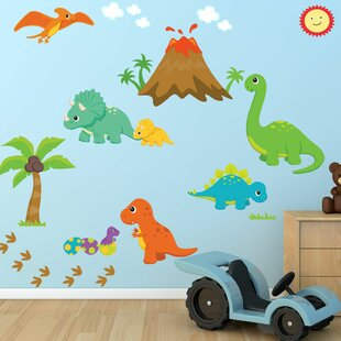 Dinosaurs wall decals youll love wayfair dinosaur world fabric printed wall decal gumiabroncs Choice Image