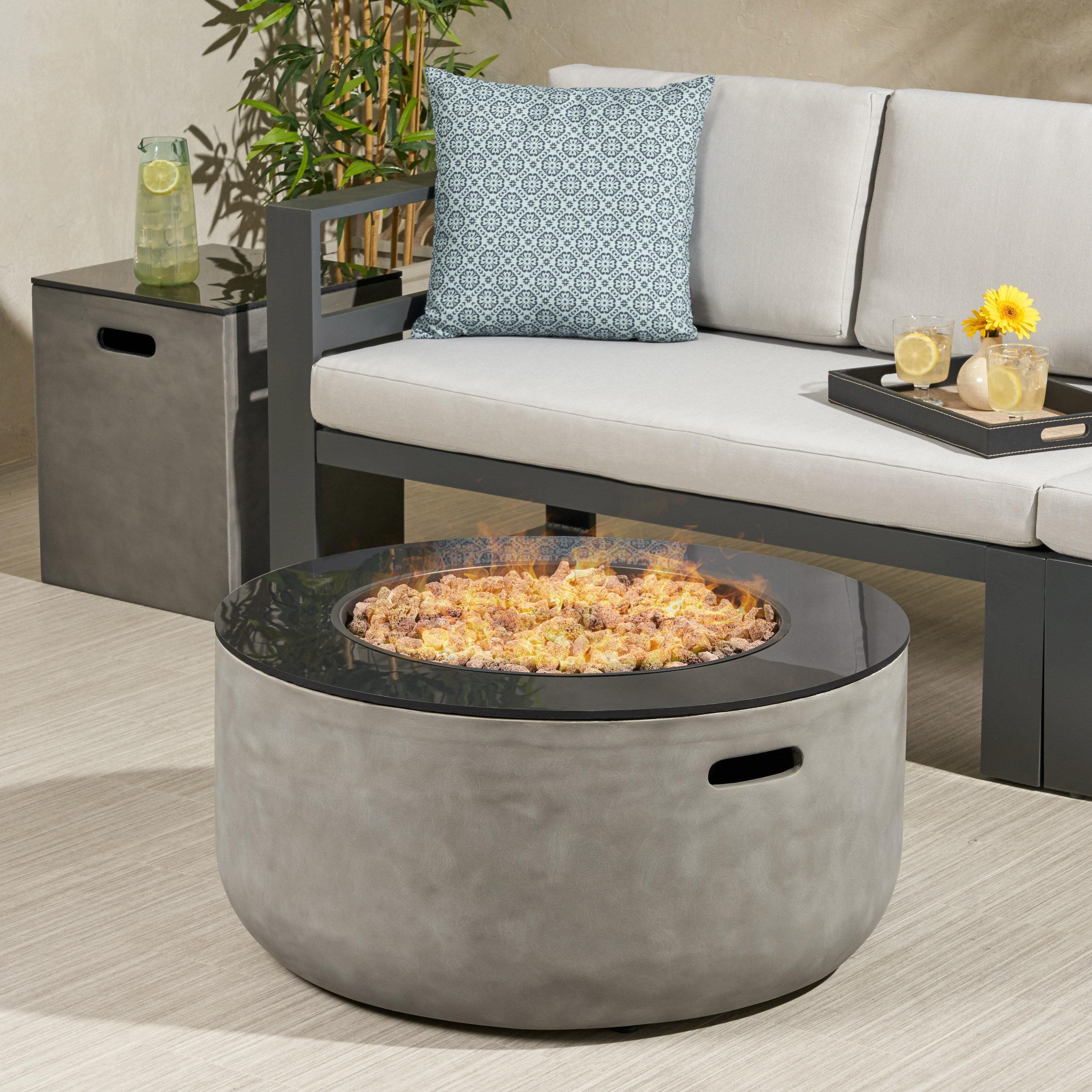 Image of: Ebern Designs Luvana Outdoor Modern With Tank Holder Concrete Propane Fire Pit Reviews Wayfair