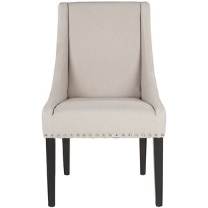 Flossmoor Side Chair (Set of 2) in Linen - Taupe with Nailheads (Set of 2) by Darby Home Co