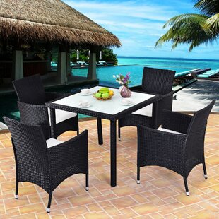 Varner Outdoor 5 Piece Rattan Sofa Seating Group Set