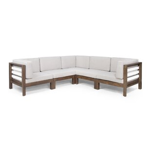 Patten Outdoor V-Shaped Patio Sectional with Cushions by Breakwater Bay
