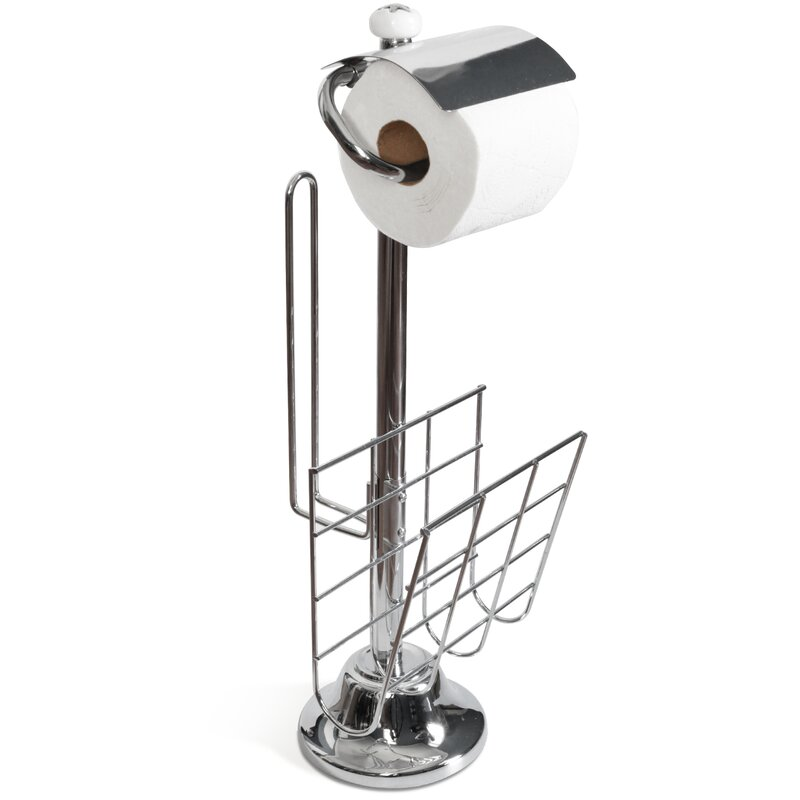 toilet paper holder and stand with magazine rack