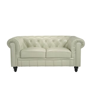 Mckayla Leather Chesterfield Loveseat