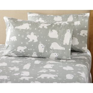 Janiya Polar Bears Super Soft Printed Flannel Sheet Set
