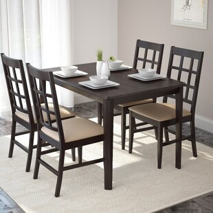 Mendoza 5 Piece Solid Wood Dining Set Alcott Hill