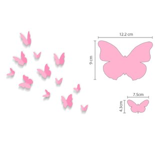 3D Butterfly Pink With Pink Elephant Wall Sticker By East Urban Home