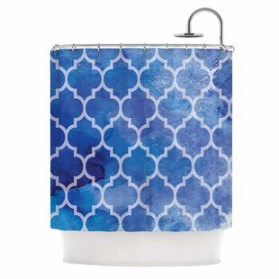'Blue Watercolor Moroccan' Single Shower Curtain
