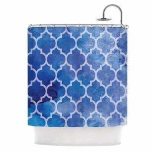 'Blue Watercolor Moroccan' Single Shower Curtain