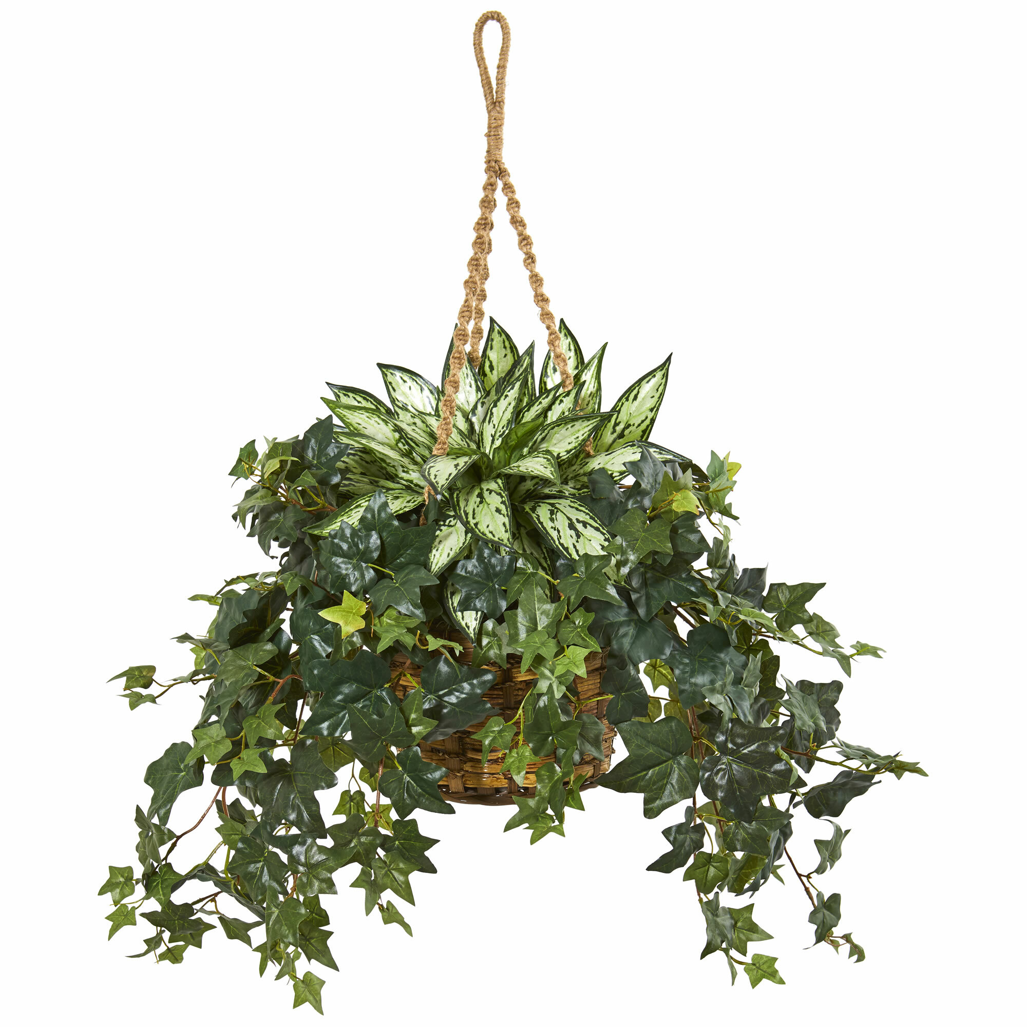 Charlton Home Artificial Foliage Plant In Basket Reviews Wayfair