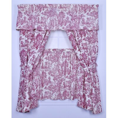 "Lark Manor Gatineau Toile Semi-Sheer Rod pocket Curtain Panel Size per Panel: 34"" W x 54"" L, Colour: Red"