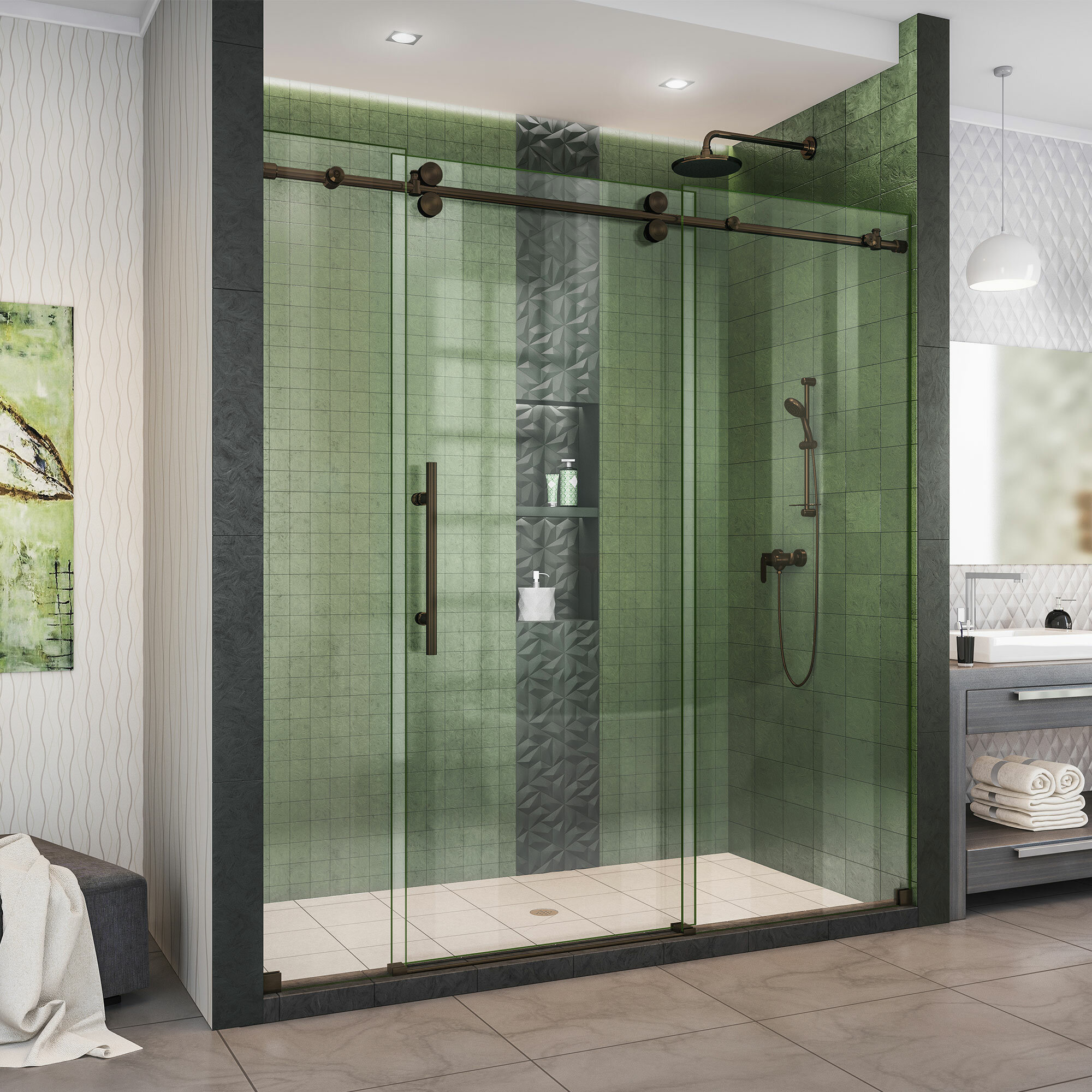 Enigma Xo 48 X 76 Sliding Frameless Shower Door With Clearmax Technology