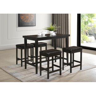Keane 5 Piece Counter Height Solid Wood Dining Set