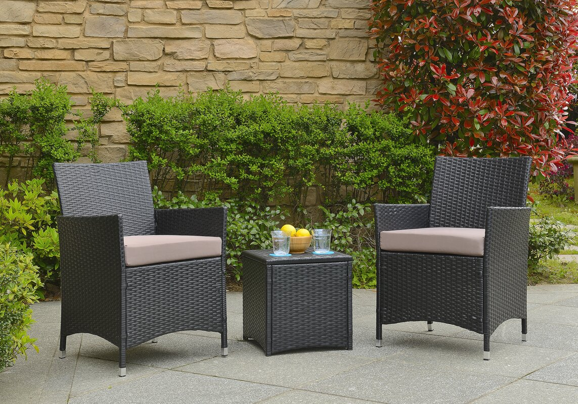 Minden 3 Piece Conversation Set with Cushions