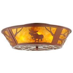 Meyda Tiffany Northwoods Moose on the Loose 4-Light Flush Mount