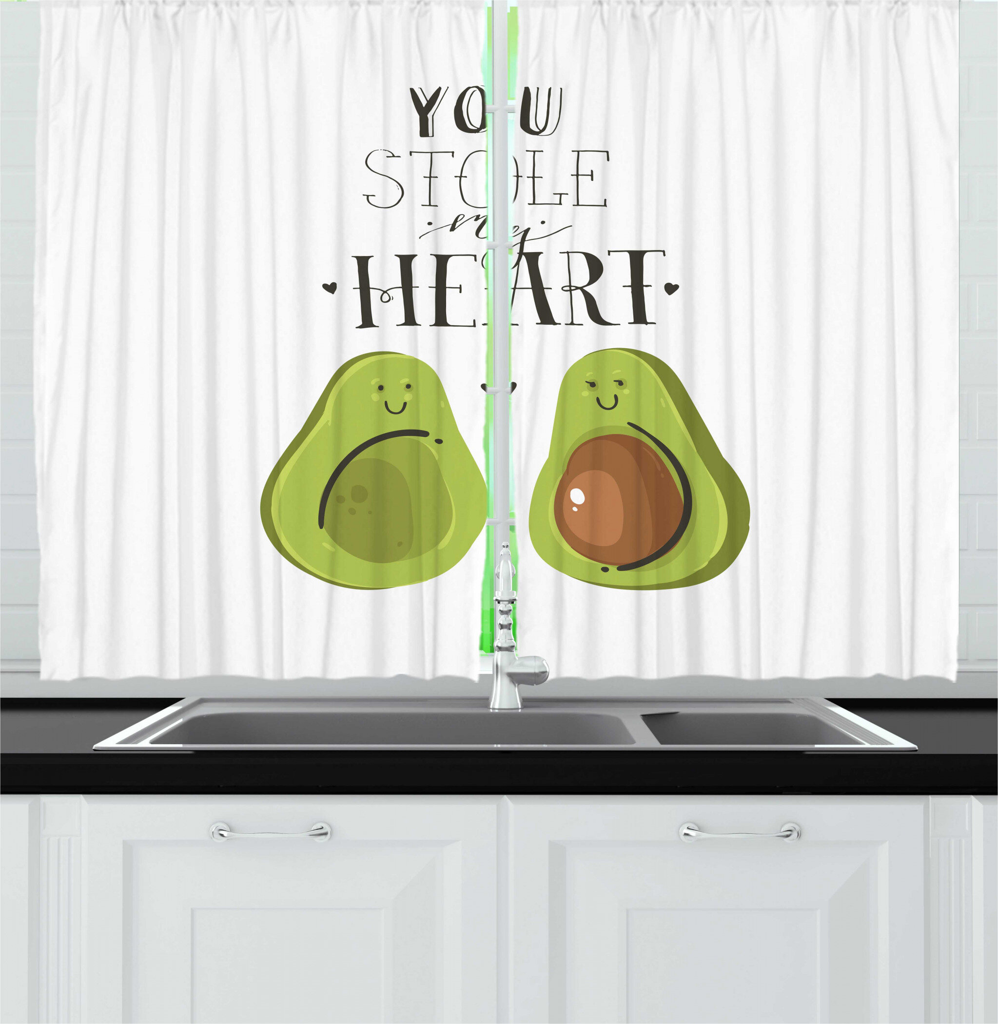 East Urban Home 2 Piece Fruit Lover Avocados You Stole My Hearts Typography Valentines Day Art Kitchen Curtain Set Wayfair
