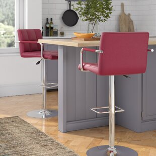 Guion Adjustable Height Swivel Bar Stool (Set of 2) by Wrought Studio