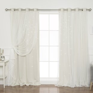 Efird Tulle Overlay Star Cut Out Blackout Thermal Grommet Curtain Panel Set Of 2
