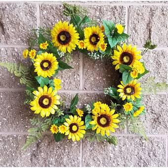 August Grove Sunflower Primrose And Daisy 13 Polyester Wreath Reviews Wayfair