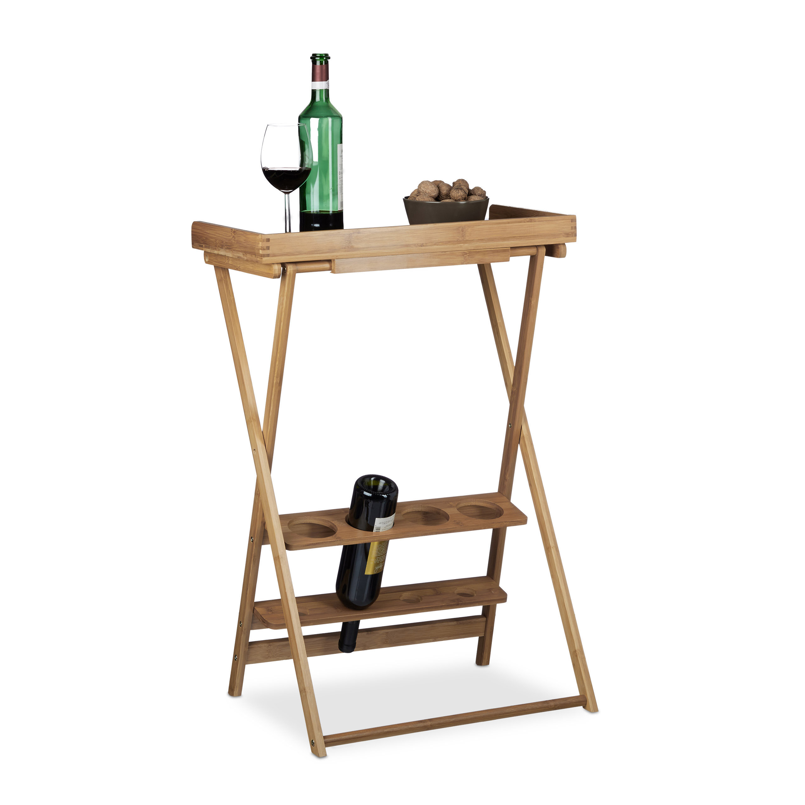 Relaxdays 4 Bottles Tabletop Wine Rack With Glass Holder Wayfaircouk