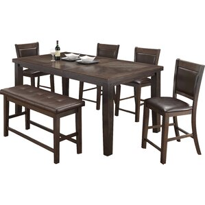 Walnut 6 Piece Counter Height Dining Set by BestMasterFurniture