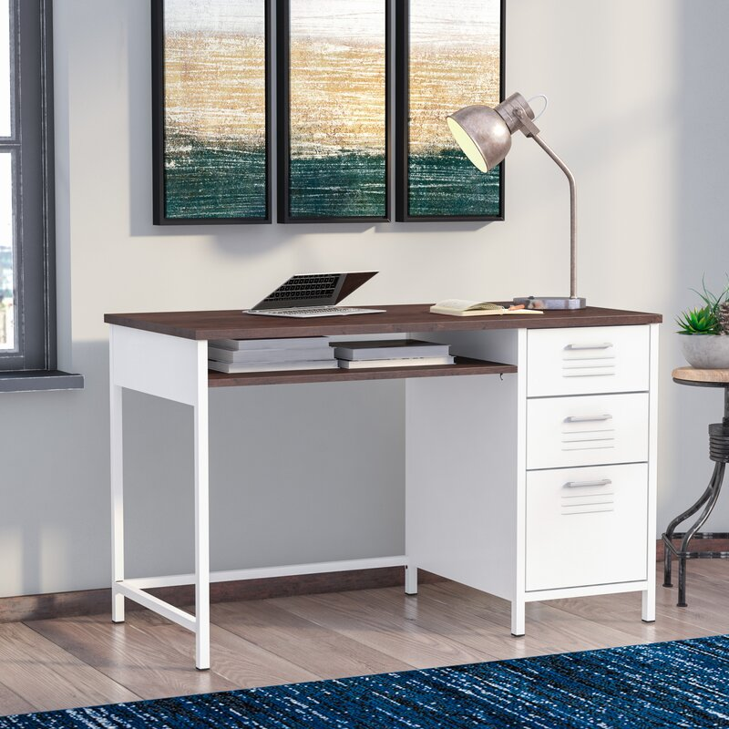 Eldora Metal Locker Style Computer Desk With Wood Top