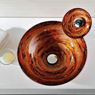 ANZZI Stanza Glass Circular Vessel Bathroom Sink