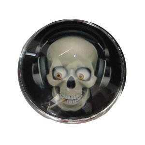 Smoking Skull Glass Mushroom Knob