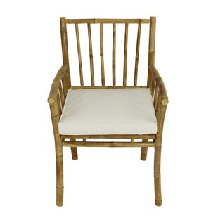 Platani Bamboo Patio Dining Chair with Cushion by Bay Isle Home