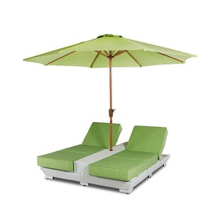 Latitude Run Hornback Double Chaise Lounge with Cushions