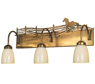 Meyda Tiffany Running Horse 3-Light Vanity Light