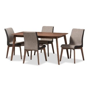 Dinges Mid-Century Modern Beige and Brown Fabric 5-Piece Dining Set George Oliver