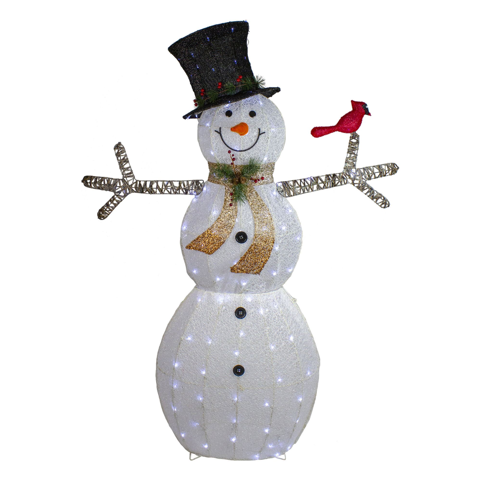 Northlight 72 Led Lighted Snowman With Black Top Hat Christmas Outdoor Decoration Wayfair
