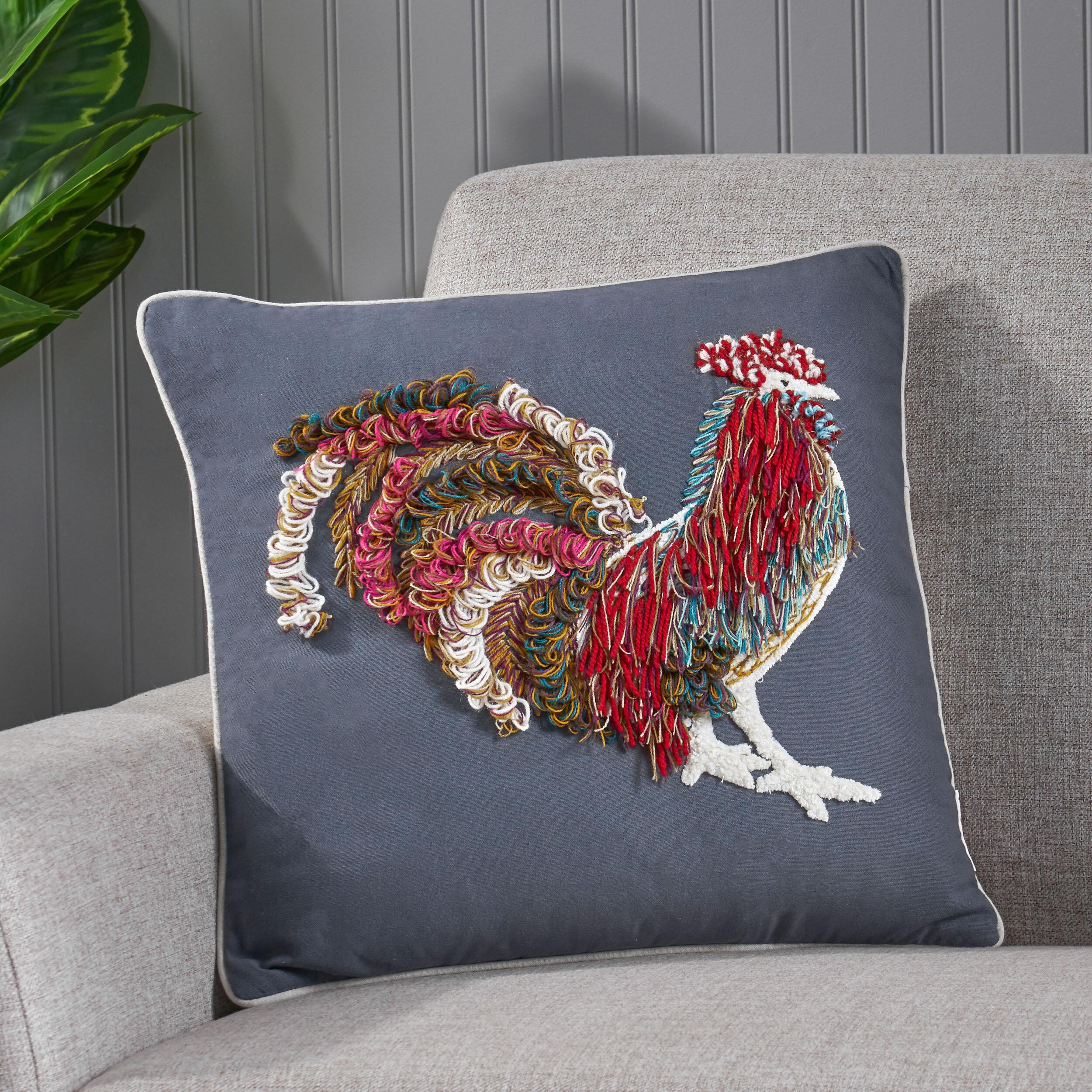 August Grove Miller Rooster Cotton Throw Pillow Wayfair