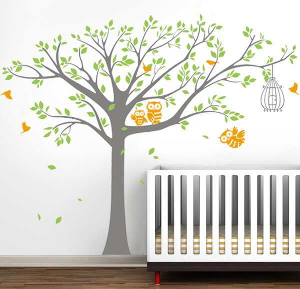 Nursery Tree With Cute Owls Wall Decal