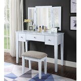 Ladores Vanity Set with Stool and Mirror by Latitude Run®