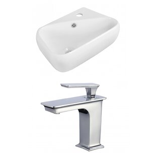Affordable Price Ceramic 6 Wall Mount Bathroom Sink with Faucet and Overflow ByAmerican Imaginations