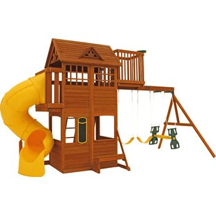 KidKraft Abbeydale Clubhouse Wooden Swing Set
