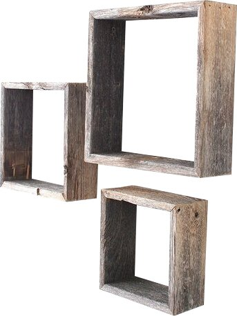BarnwoodUSA Rustic Open Box 100 Reclaimed Wood 3 Piece Accent Shelf