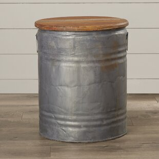 Laurel Foundry Modern Farmhouse Cordelia Metal Wood Drum Stool