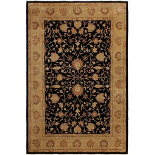Check Prices One-of-a-Kind Dorn Hand-Knotted 9' x 11'11 Wool Beige/Black Area Rug By Isabelline