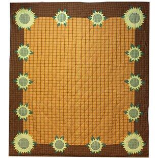 August Grove Marigold Sunflower Quilt